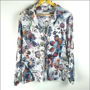Chicos Large Boho Top Floral sz 2 L